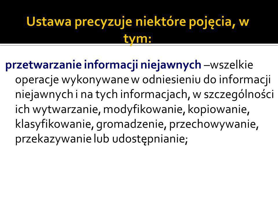 przetwarzanie informacji niejawnych –wszelkie operacje wykonywane w odniesieniu do informacji niejawnych i na tych informacjach, w szczególności ich w