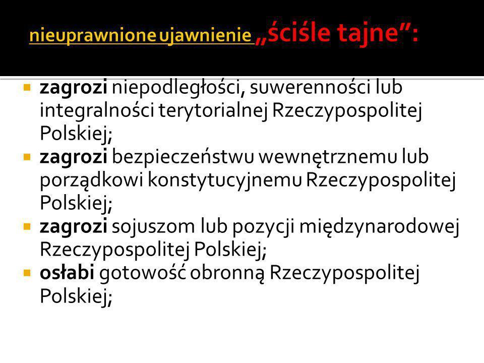  zagrozi niepodległości, suwerenności lub integralności terytorialnej Rzeczypospolitej Polskiej;  zagrozi bezpieczeństwu wewnętrznemu lub porządkowi