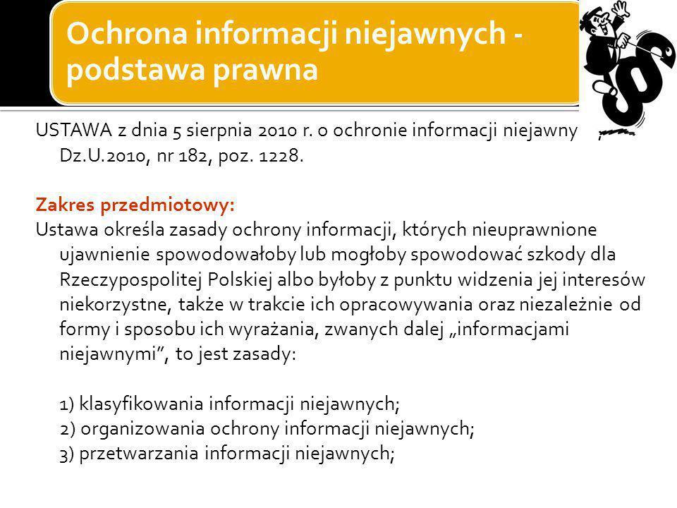 Ochrona informacji niejawnych - podstawa prawna USTAWA z dnia 5 sierpnia 2010 r. o ochronie informacji niejawnych, Dz.U.2010, nr 182, poz. 1228. Zakre