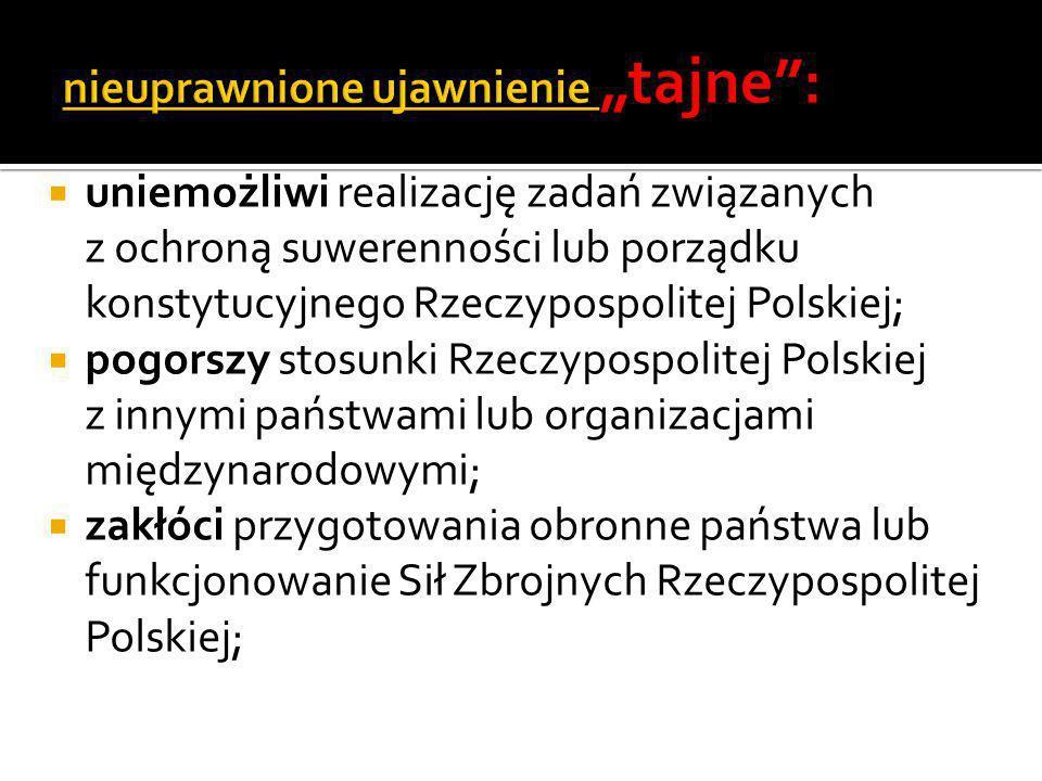  uniemożliwi realizację zadań związanych z ochroną suwerenności lub porządku konstytucyjnego Rzeczypospolitej Polskiej;  pogorszy stosunki Rzeczypos