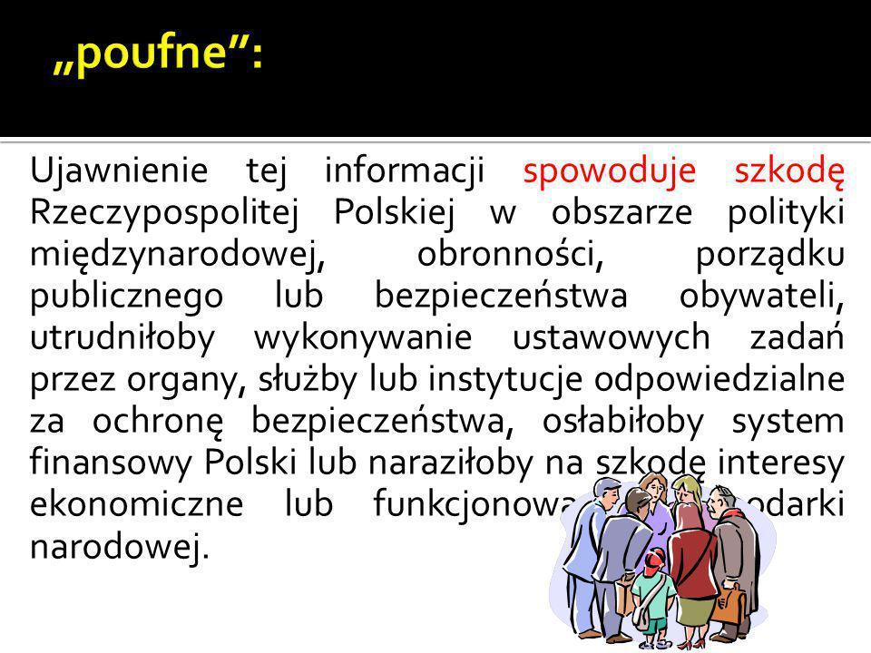 Ujawnienie tej informacji spowoduje szkodę Rzeczypospolitej Polskiej w obszarze polityki międzynarodowej, obronności, porządku publicznego lub bezpiec