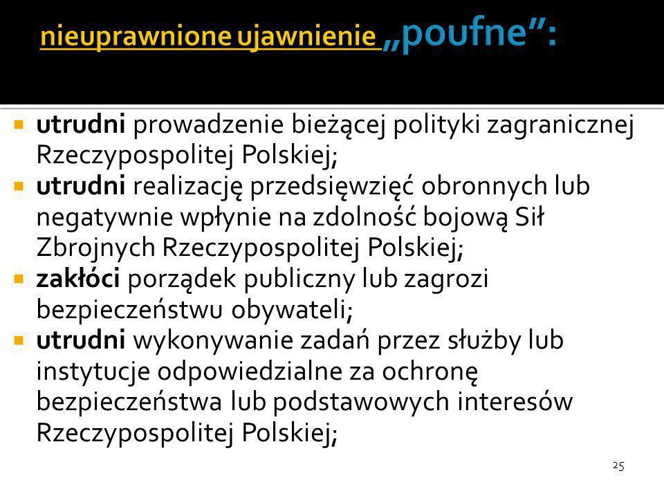 25  utrudni prowadzenie bieżącej polityki zagranicznej Rzeczypospolitej Polskiej;  utrudni realizację przedsięwzięć obronnych lub negatywnie wpłynie