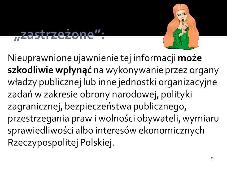 \\ Nieuprawnione ujawnienie tej informacji może szkodliwie wpłynąć na wykonywanie przez organy władzy publicznej lub inne jednostki organizacyjne zada
