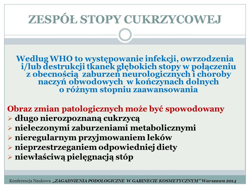 ZESPÓŁ STOPY CUKRZYCOWEJ Według WHO to występowanie infekcji, owrzodzenia i/lub destrukcji tkanek głębokich stopy w połączeniu z obecnością zaburzeń n