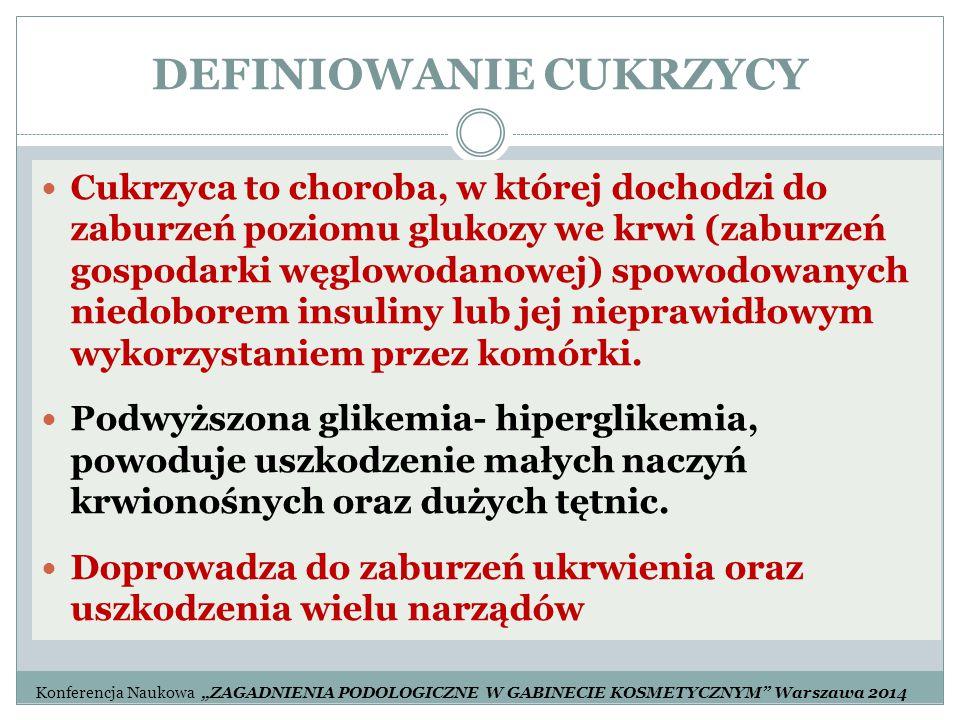 DEFINIOWANIE CUKRZYCY Cukrzyca to choroba, w której dochodzi do zaburzeń poziomu glukozy we krwi (zaburzeń gospodarki węglowodanowej) spowodowanych ni