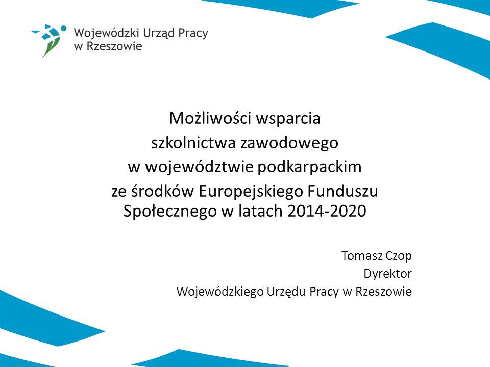 Możliwości wsparcia szkolnictwa zawodowego w województwie podkarpackim ze środków Europejskiego Funduszu Społecznego w latach 2014-2020 Tomasz Czop Dy