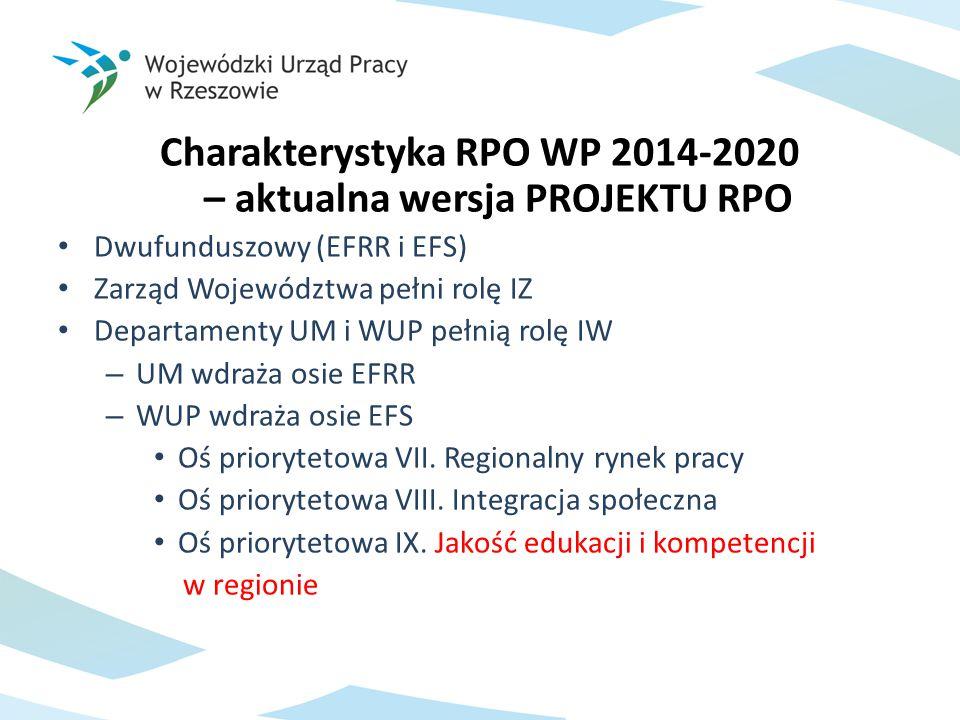 Charakterystyka RPO WP 2014-2020 – aktualna wersja PROJEKTU RPO Dwufunduszowy (EFRR i EFS) Zarząd Województwa pełni rolę IZ Departamenty UM i WUP pełn