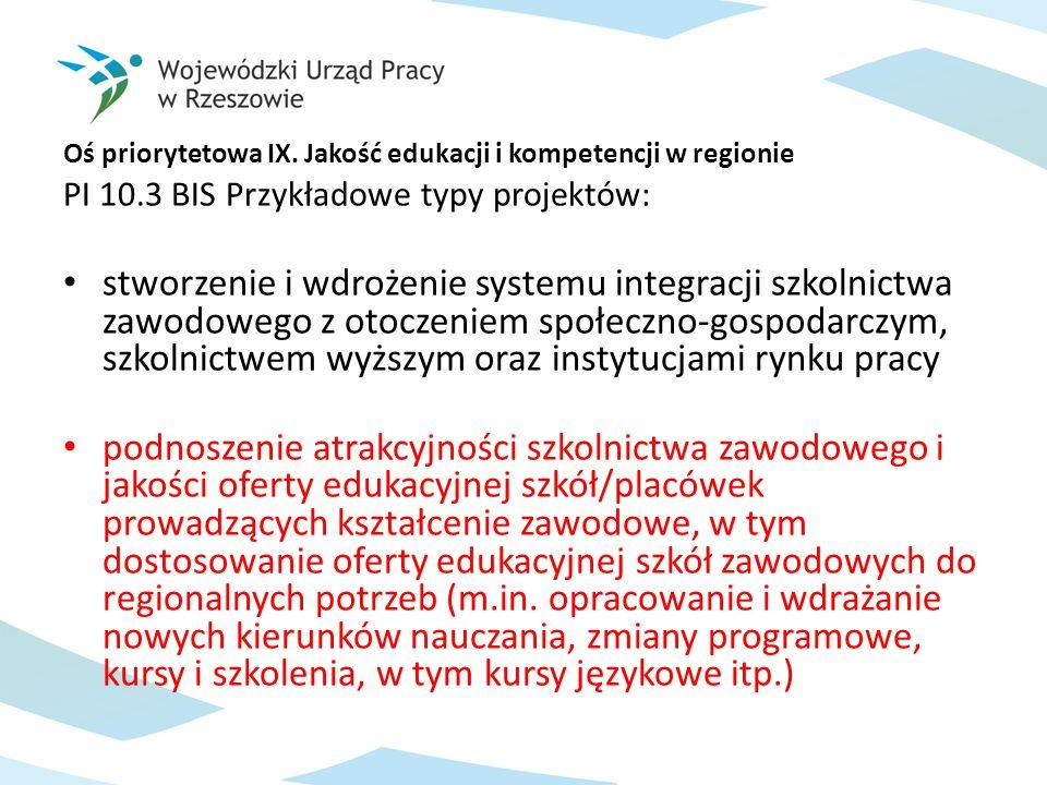 Oś priorytetowa IX. Jakość edukacji i kompetencji w regionie PI 10.3 BIS Przykładowe typy projektów: stworzenie i wdrożenie systemu integracji szkolni