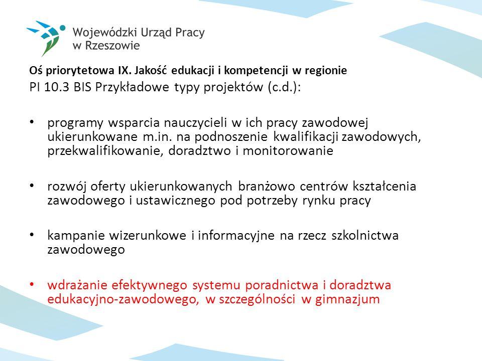 Oś priorytetowa IX. Jakość edukacji i kompetencji w regionie PI 10.3 BIS Przykładowe typy projektów (c.d.): programy wsparcia nauczycieli w ich pracy