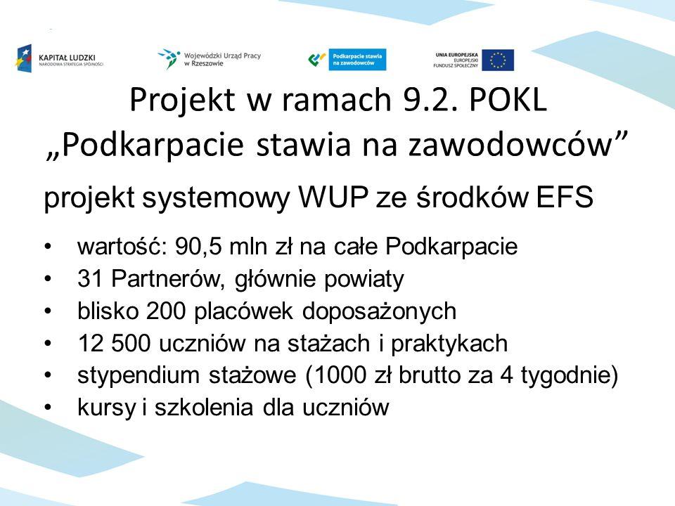 """Projekt w ramach 9.2. POKL """"Podkarpacie stawia na zawodowców"""" projekt systemowy WUP ze środków EFS wartość: 90,5 mln zł na całe Podkarpacie 31 Partner"""