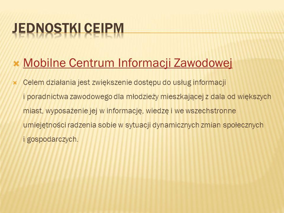  Mobilne Centrum Informacji Zawodowej Mobilne Centrum Informacji Zawodowej  Celem działania jest zwiększenie dostępu do usług informacji i poradnict