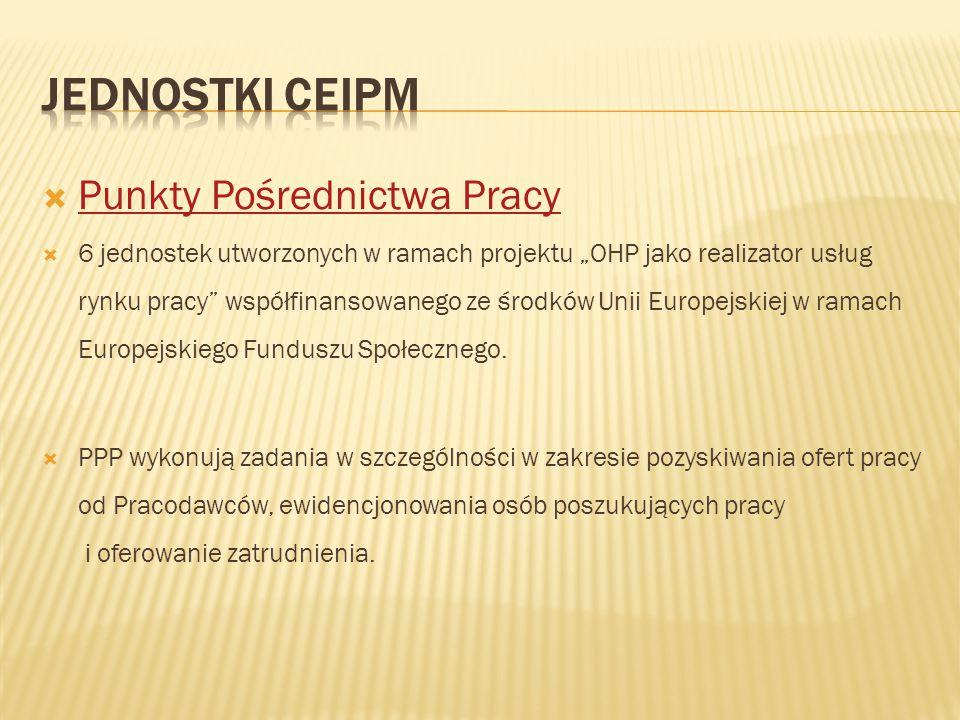 """ Punkty Pośrednictwa Pracy Punkty Pośrednictwa Pracy  6 jednostek utworzonych w ramach projektu """"OHP jako realizator usług rynku pracy"""" współfinanso"""