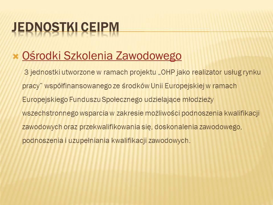 """ Ośrodki Szkolenia Zawodowego Ośrodki Szkolenia Zawodowego 3 jednostki utworzone w ramach projektu """"OHP jako realizator usług rynku pracy"""" współfinan"""