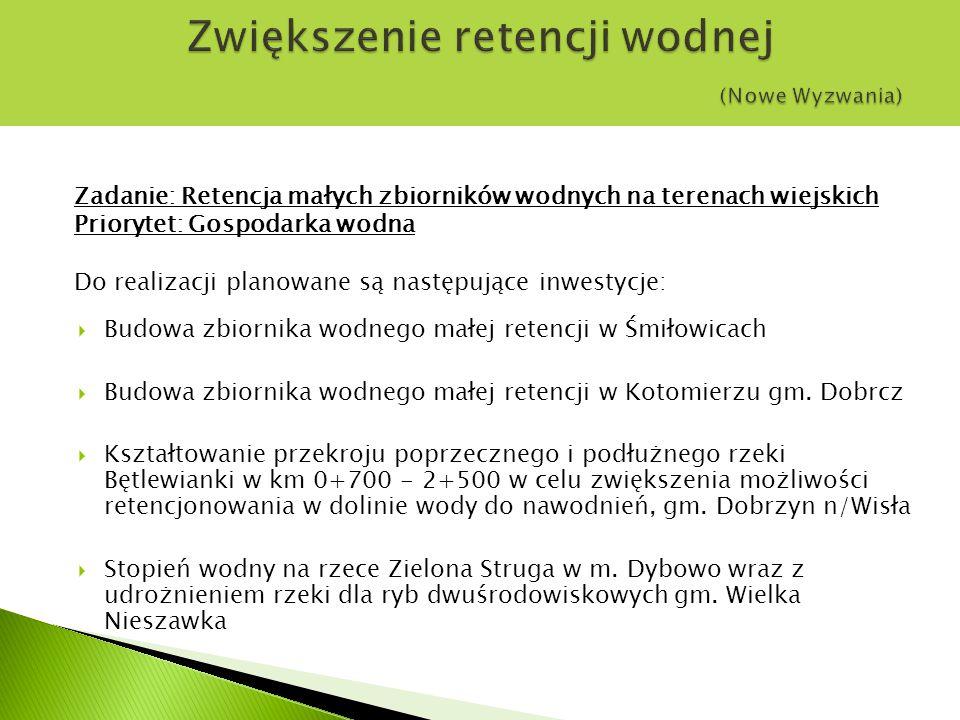 Zadanie: Retencja małych zbiorników wodnych na terenach wiejskich Priorytet: Gospodarka wodna Do realizacji planowane są następujące inwestycje:  Budowa zbiornika wodnego małej retencji w Śmiłowicach  Budowa zbiornika wodnego małej retencji w Kotomierzu gm.