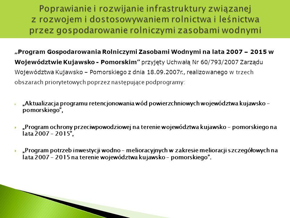 Podstawę realizacji inwestycji w ramach PROW na lata 2007 – 2013 Działanie 125 Schemat II stanowi Wykaz zadań planowanych do realizacji przyjęty Uchwałą Nr 75/1297a/09 Zarządu Województwa Kujawsko – Pomorskiego z dnia 13.10.2009r.