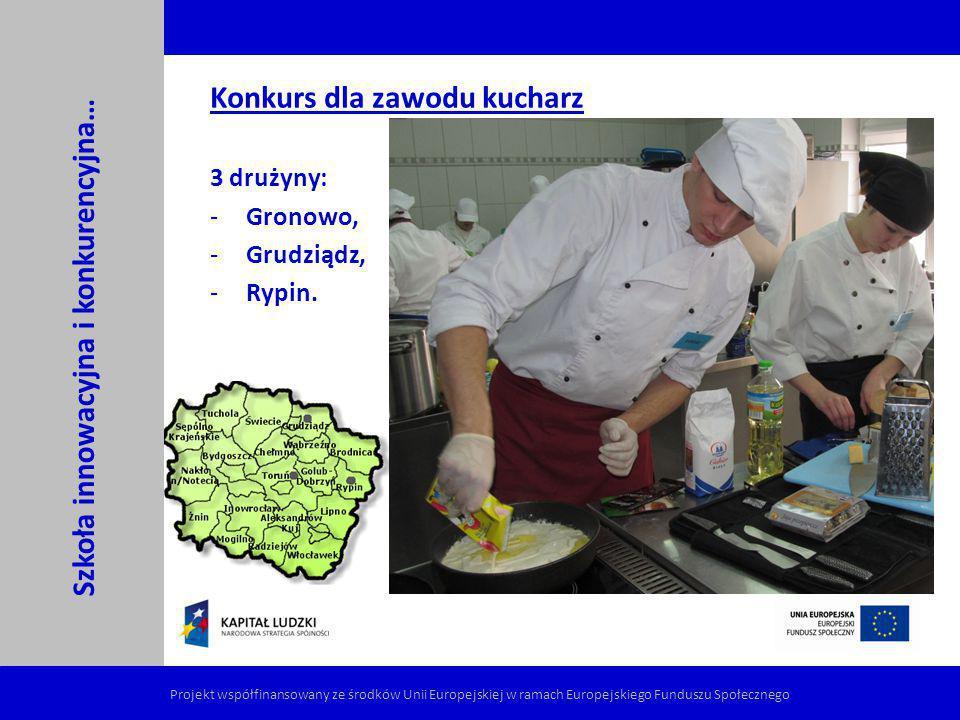 Konkurs dla zawodu kucharz 3 drużyny: -Gronowo, -Grudziądz, -Rypin. Szkoła innowacyjna i konkurencyjna… Projekt współfinansowany ze środków Unii Europ
