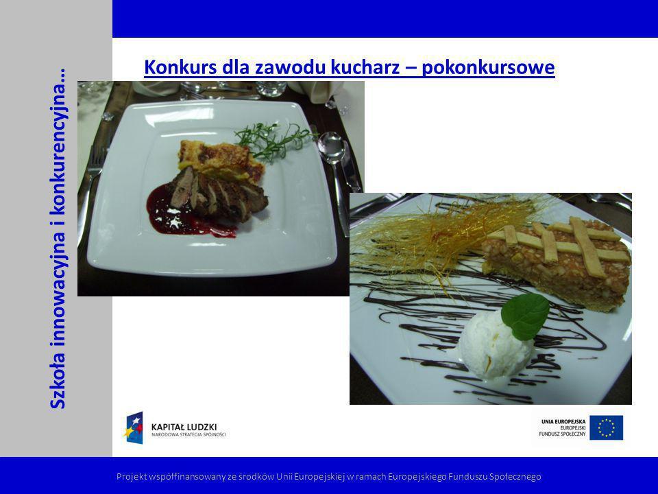 Konkurs dla zawodu kucharz – pokonkursowe pyszności Szkoła innowacyjna i konkurencyjna… Projekt współfinansowany ze środków Unii Europejskiej w ramach