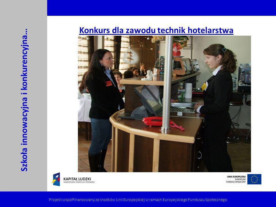 Konkurs dla zawodu technik hotelarstwa Szkoła innowacyjna i konkurencyjna… Projekt współfinansowany ze środków Unii Europejskiej w ramach Europejskieg