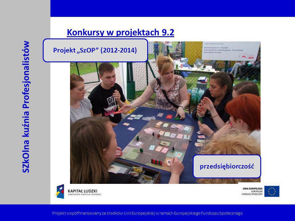 Konkursy w projektach 9.2 SZkOlna kuźnia Profesjonalistów Projekt współfinansowany ze środków Unii Europejskiej w ramach Europejskiego Funduszu Społec