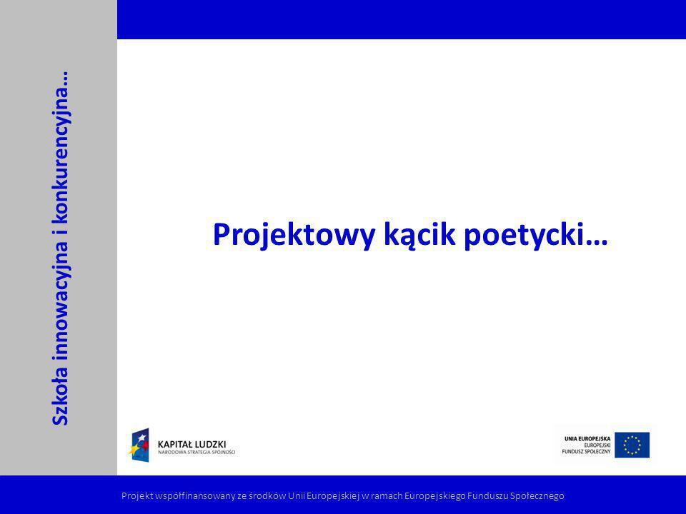 Szkoła innowacyjna i konkurencyjna… Projekt współfinansowany ze środków Unii Europejskiej w ramach Europejskiego Funduszu Społecznego Projektowy kącik