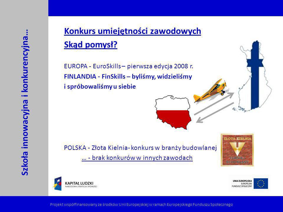 Konkurs umiejętności zawodowych Skąd pomysł? EUROPA - EuroSkills – pierwsza edycja 2008 r. FINLANDIA - FinSkills – byliśmy, widzieliśmy i spróbowaliśm