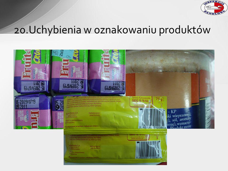 20.Uchybienia w oznakowaniu produktów