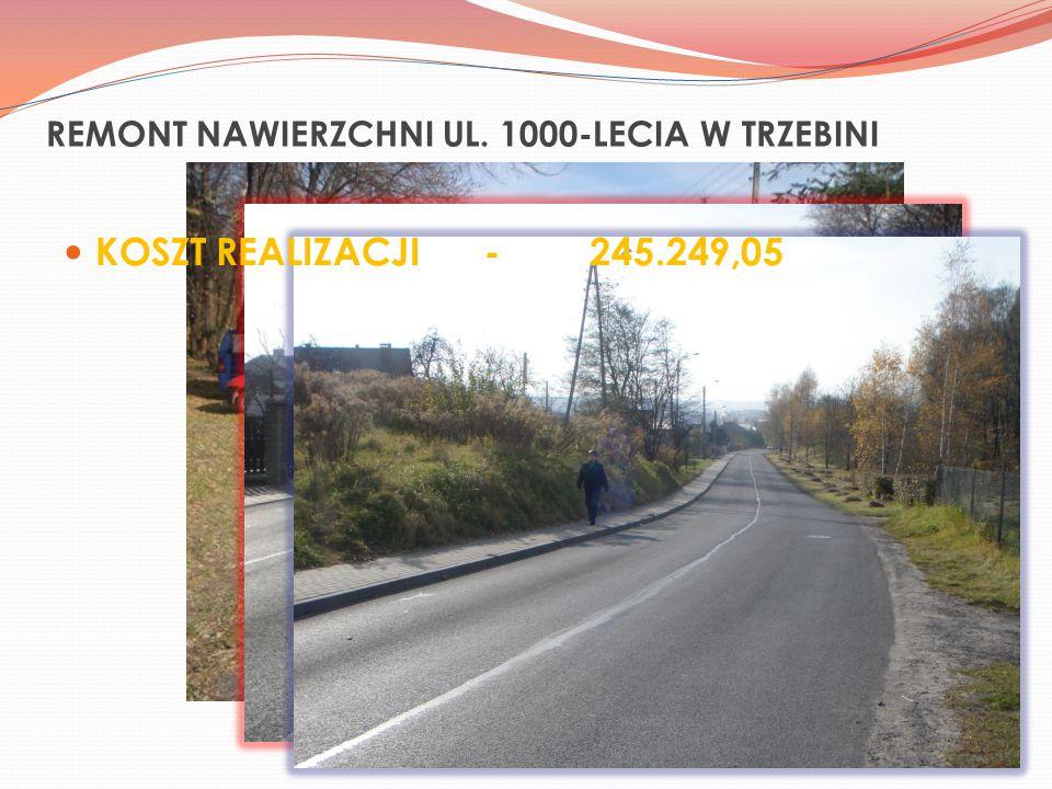REMONT NAWIERZCHNI UL. 1000-LECIA W TRZEBINI KOSZT REALIZACJI-245.249,05