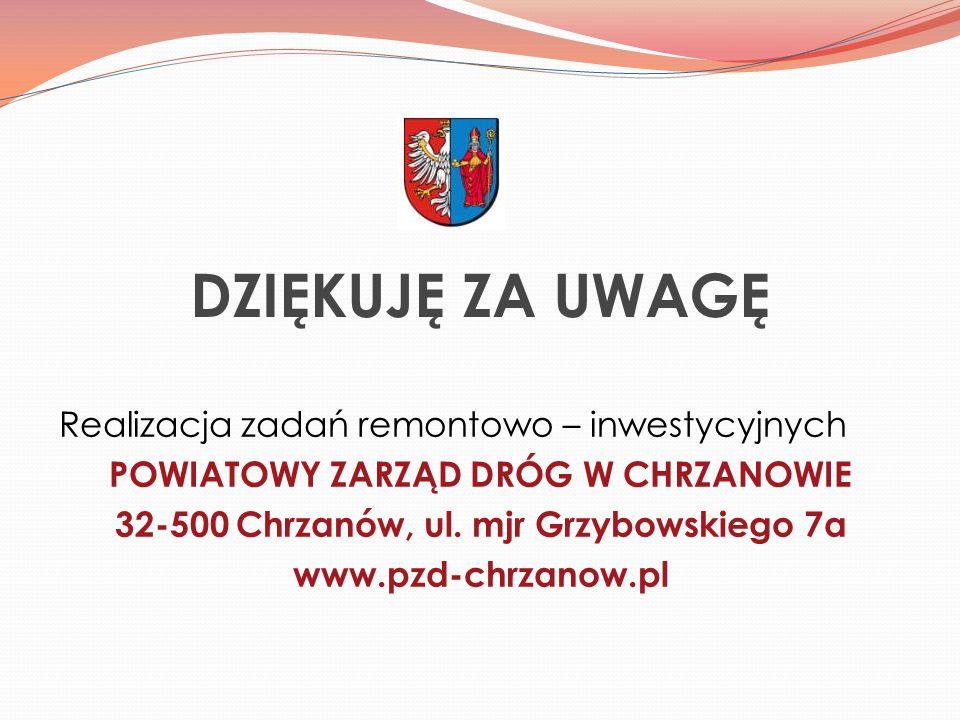 DZIĘKUJĘ ZA UWAGĘ Realizacja zadań remontowo – inwestycyjnych POWIATOWY ZARZĄD DRÓG W CHRZANOWIE 32-500 Chrzanów, ul.
