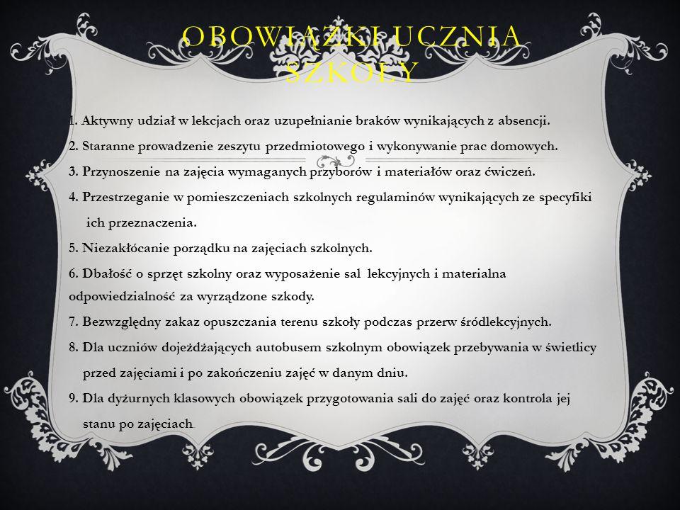 OBOWIĄZKI UCZNIA W ZAKRESIE ZACHOWANIA 1.