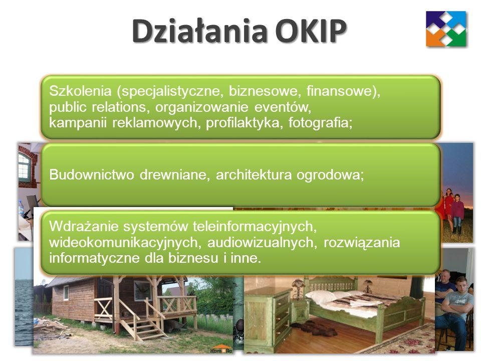 Działania OKIP Szkolenia (specjalistyczne, biznesowe, finansowe), public relations, organizowanie eventów, kampanii reklamowych, profilaktyka, fotogra