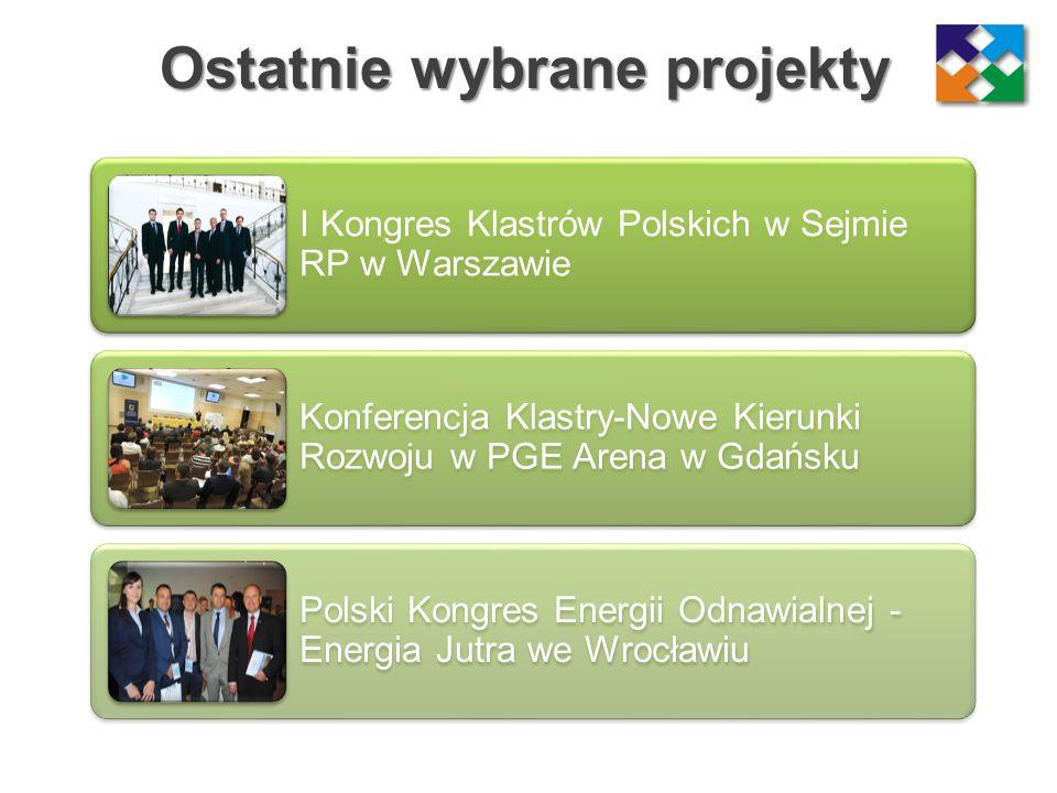 Ostatnie wybrane projekty I Kongres Klastrów Polskich w Sejmie RP w Warszawie Konferencja Klastry-Nowe Kierunki Rozwoju w PGE Arena w Gdańsku Polski K