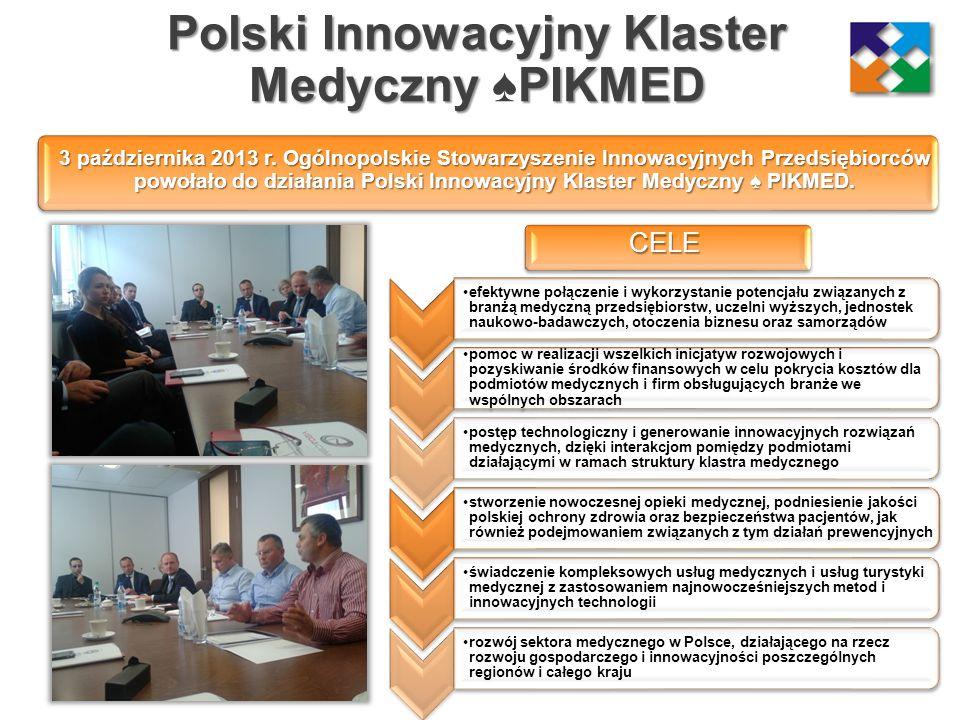 Polski Innowacyjny Klaster MedycznyPIKMED Polski Innowacyjny Klaster Medyczny ♠PIKMED efektywne połączenie i wykorzystanie potencjału związanych z bra