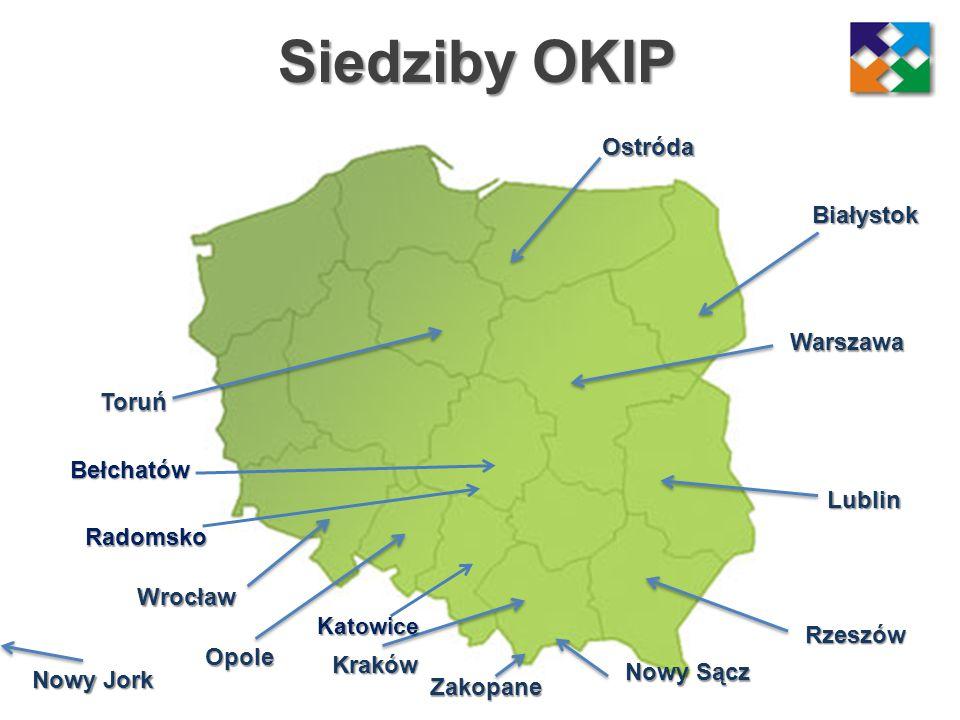 Siedziby OKIP Nowy Sącz Kraków Wrocław Lublin Ostróda Opole Rzeszów Toruń Zakopane Nowy Jork Warszawa Białystok Katowice Bełchatów Radomsko