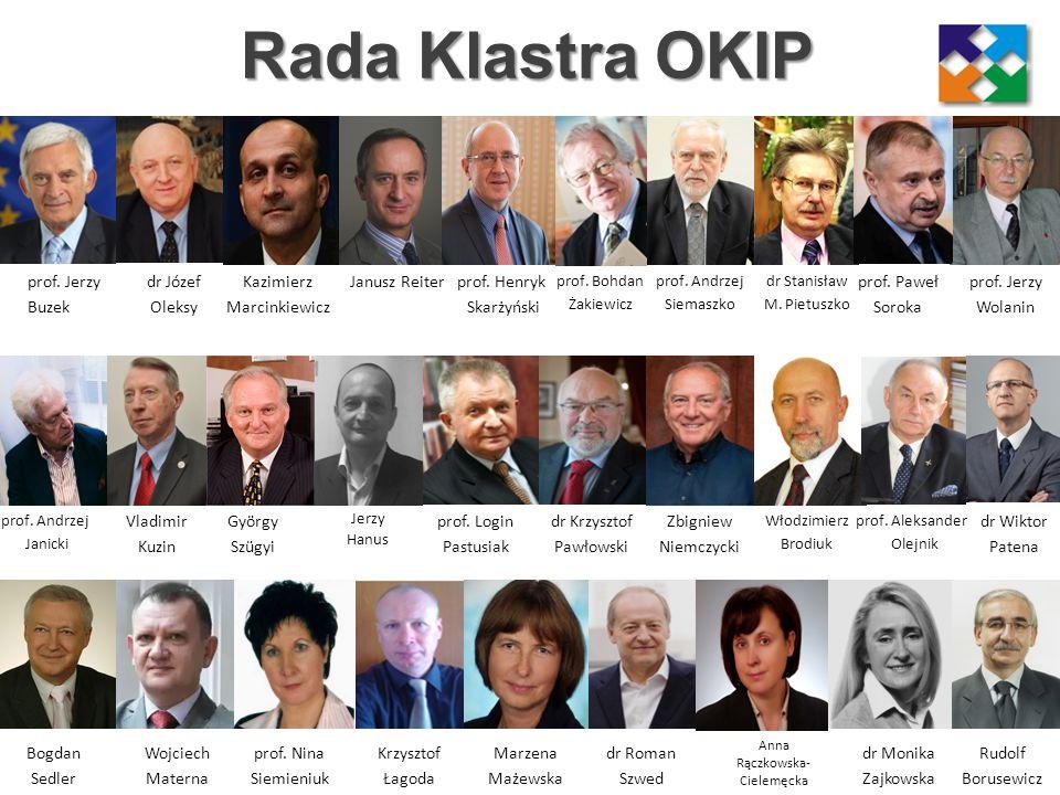 Zarząd Klastra OKIP V-ce Prezes Tomasz Pawłowski Prezes Bogdan Węgrzynek V-ce Prezes Agnieszka Frysiak