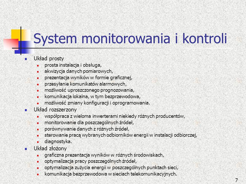 System monitorowania i kontroli Układ prosty prosta instalacja i obsługa, akwizycja danych pomiarowych, prezentacja wyników w formie graficznej, przes