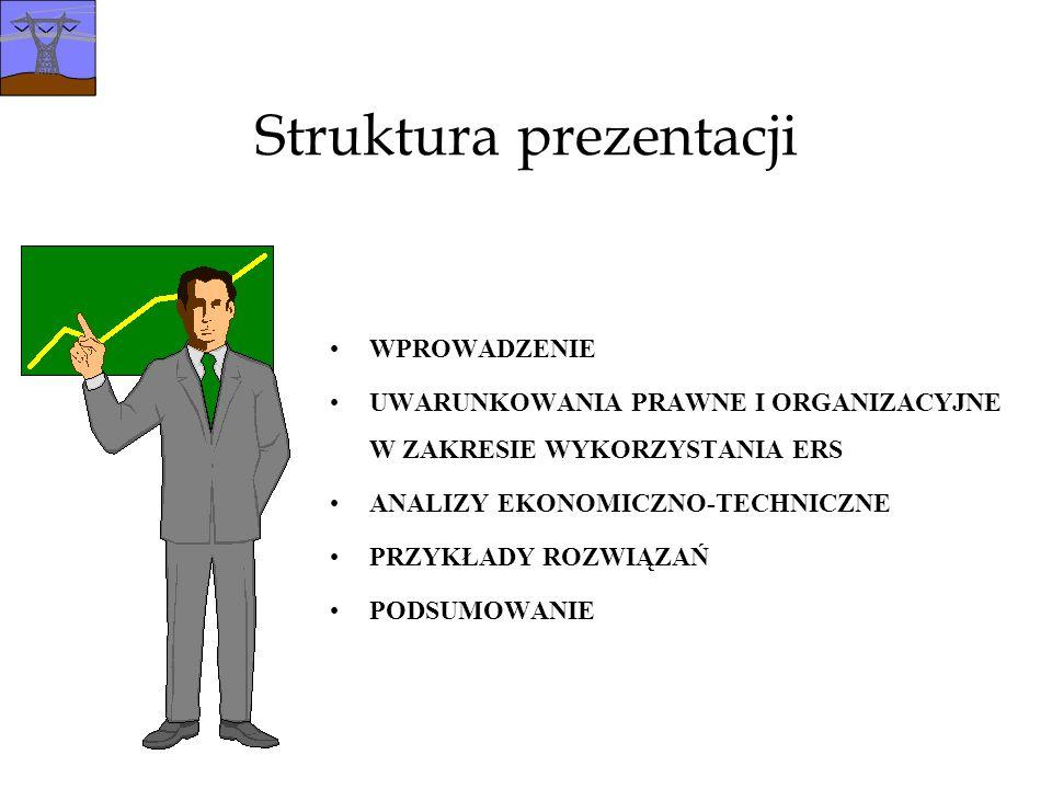 Struktura prezentacji WPROWADZENIE UWARUNKOWANIA PRAWNE I ORGANIZACYJNE W ZAKRESIE WYKORZYSTANIA ERS ANALIZY EKONOMICZNO-TECHNICZNE PRZYKŁADY ROZWIĄZAŃ PODSUMOWANIE