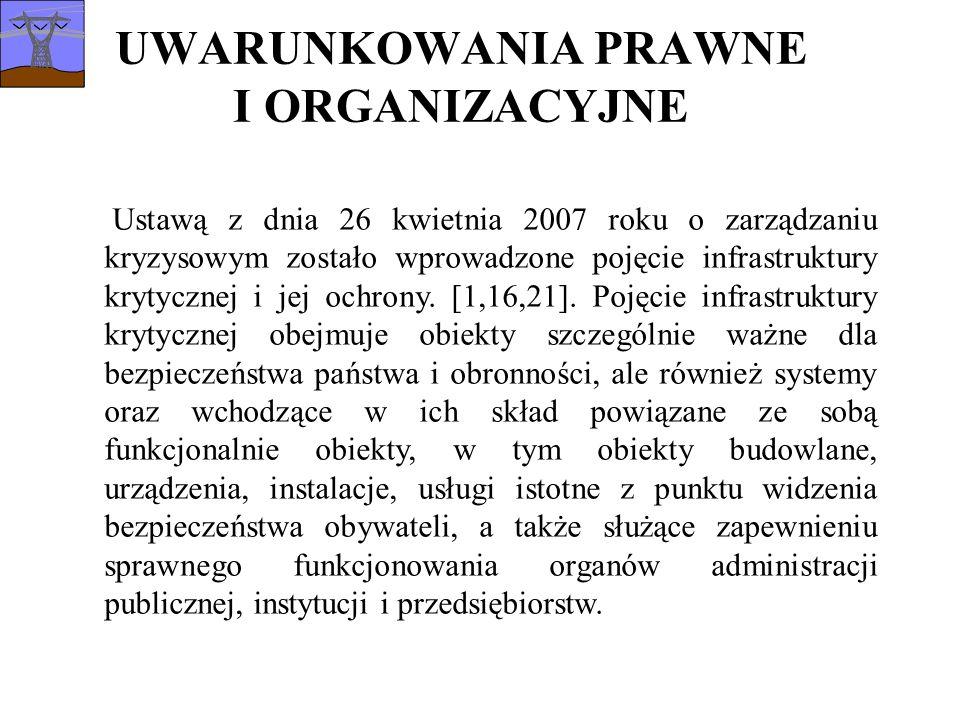 UWARUNKOWANIA PRAWNE I ORGANIZACYJNE Ustawą z dnia 26 kwietnia 2007 roku o zarządzaniu kryzysowym zostało wprowadzone pojęcie infrastruktury krytycznej i jej ochrony.
