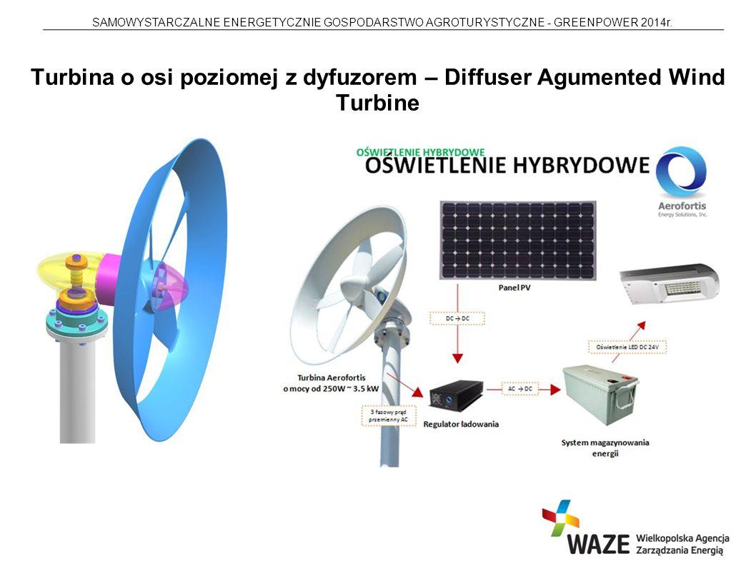 SAMOWYSTARCZALNE ENERGETYCZNIE GOSPODARSTWO AGROTURYSTYCZNE - GREENPOWER 2014r. Turbina o osi poziomej z dyfuzorem – Diffuser Agumented Wind Turbine