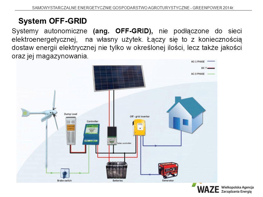 SAMOWYSTARCZALNE ENERGETYCZNIE GOSPODARSTWO AGROTURYSTYCZNE - GREENPOWER 2014r. Systemy autonomiczne (ang. OFF-GRID), nie podłączone do sieci elektroe