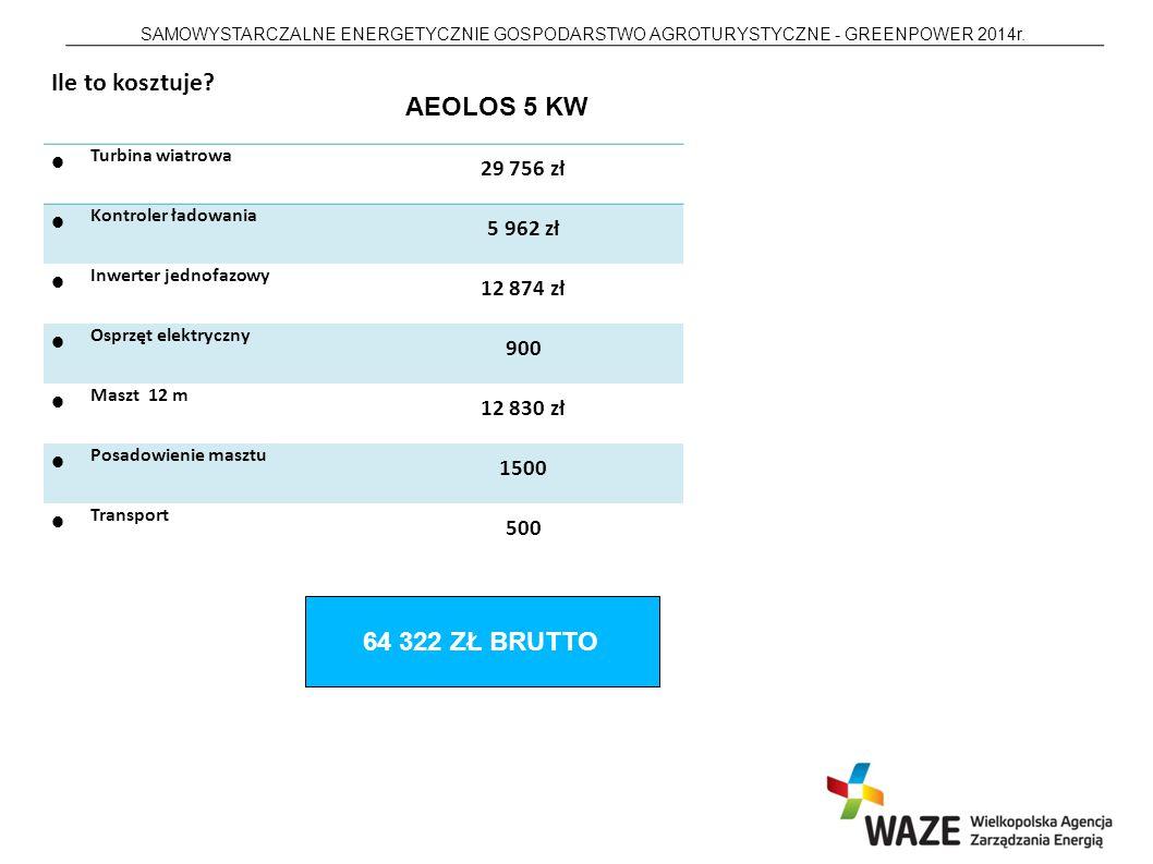 SAMOWYSTARCZALNE ENERGETYCZNIE GOSPODARSTWO AGROTURYSTYCZNE - GREENPOWER 2014r. Ile to kosztuje?  Turbina wiatrowa 29 756 zł  Kontroler ładowania 5