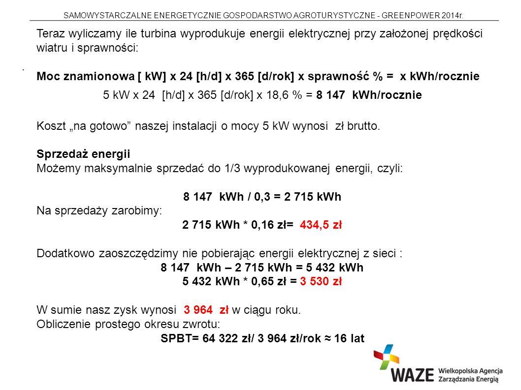 SAMOWYSTARCZALNE ENERGETYCZNIE GOSPODARSTWO AGROTURYSTYCZNE - GREENPOWER 2014r..