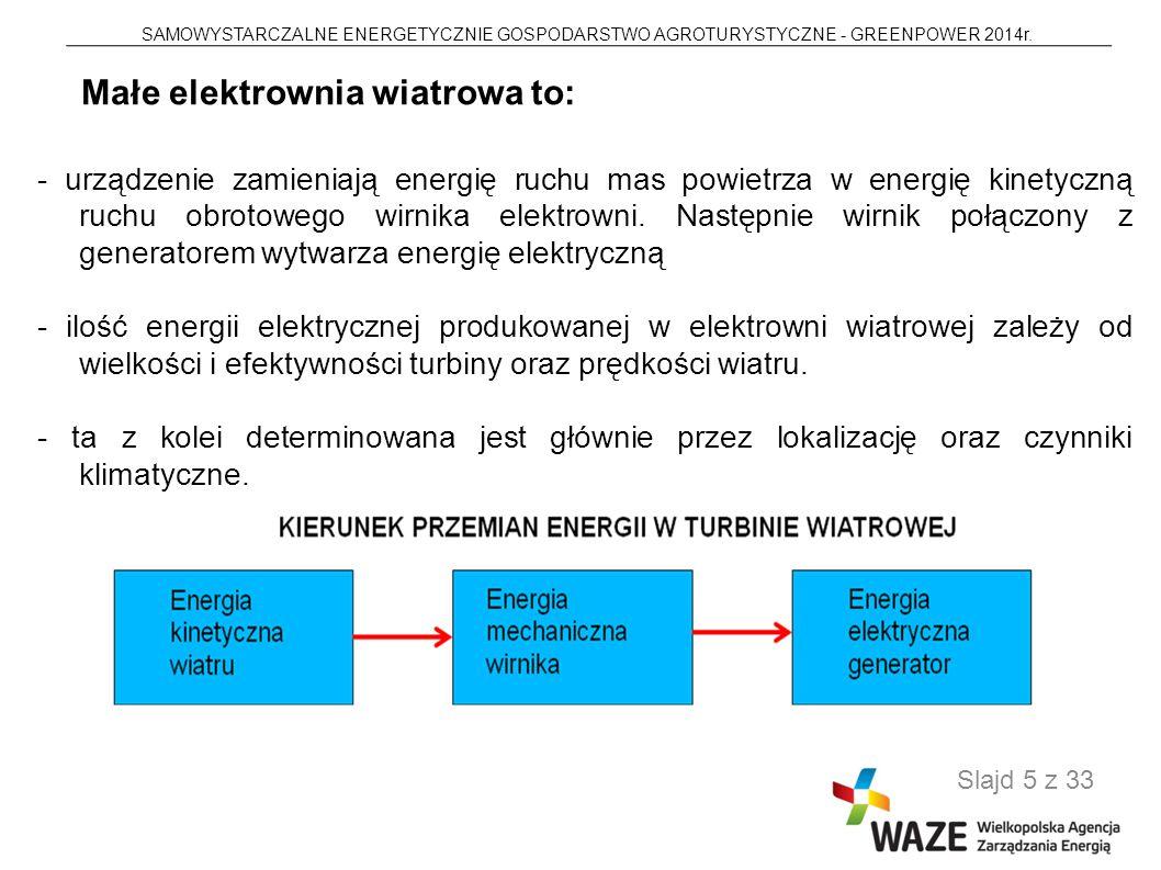 SAMOWYSTARCZALNE ENERGETYCZNIE GOSPODARSTWO AGROTURYSTYCZNE - GREENPOWER 2014r. Slajd 5 z 33 - urządzenie zamieniają energię ruchu mas powietrza w ene