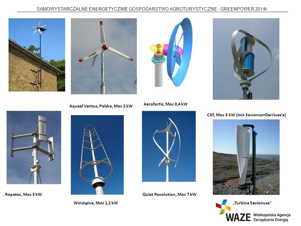 SAMOWYSTARCZALNE ENERGETYCZNIE GOSPODARSTWO AGROTURYSTYCZNE - GREENPOWER 2014r.. Ropatec, Moc 5 kW Aerofortis, Moc 0,4 kW Aquael Ventus, Polska, Moc 2