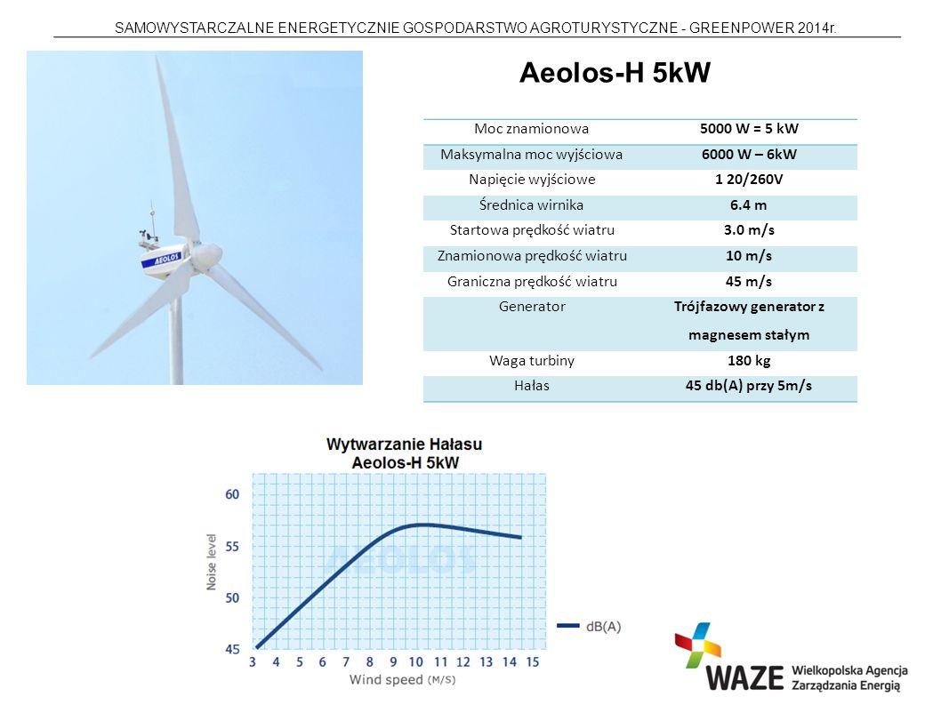 SAMOWYSTARCZALNE ENERGETYCZNIE GOSPODARSTWO AGROTURYSTYCZNE - GREENPOWER 2014r. Aeolos-H 5kW Moc znamionowa5000 W = 5 kW Maksymalna moc wyjściowa6000