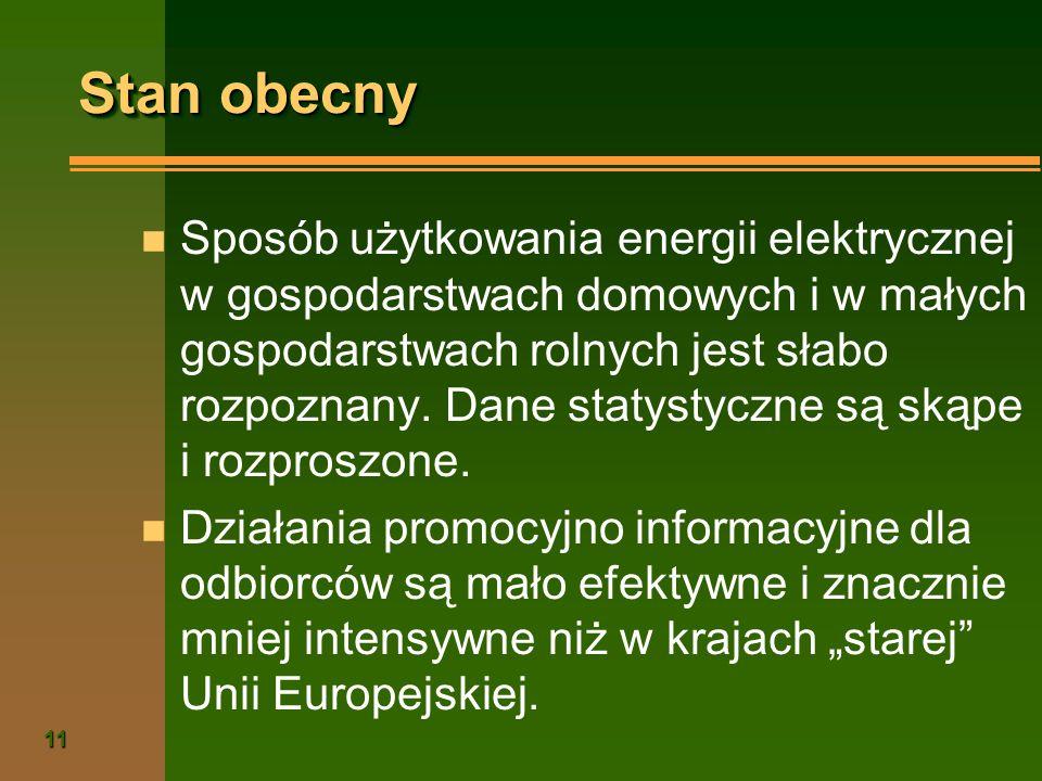 11 Stan obecny n Sposób użytkowania energii elektrycznej w gospodarstwach domowych i w małych gospodarstwach rolnych jest słabo rozpoznany. Dane staty