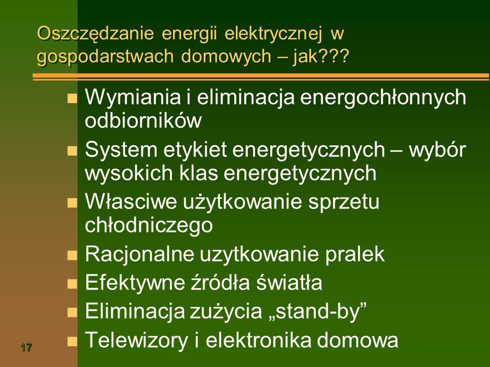 17 Oszczędzanie energii elektrycznej w gospodarstwach domowych – jak??? n Wymiania i eliminacja energochłonnych odbiorników n System etykiet energetyc