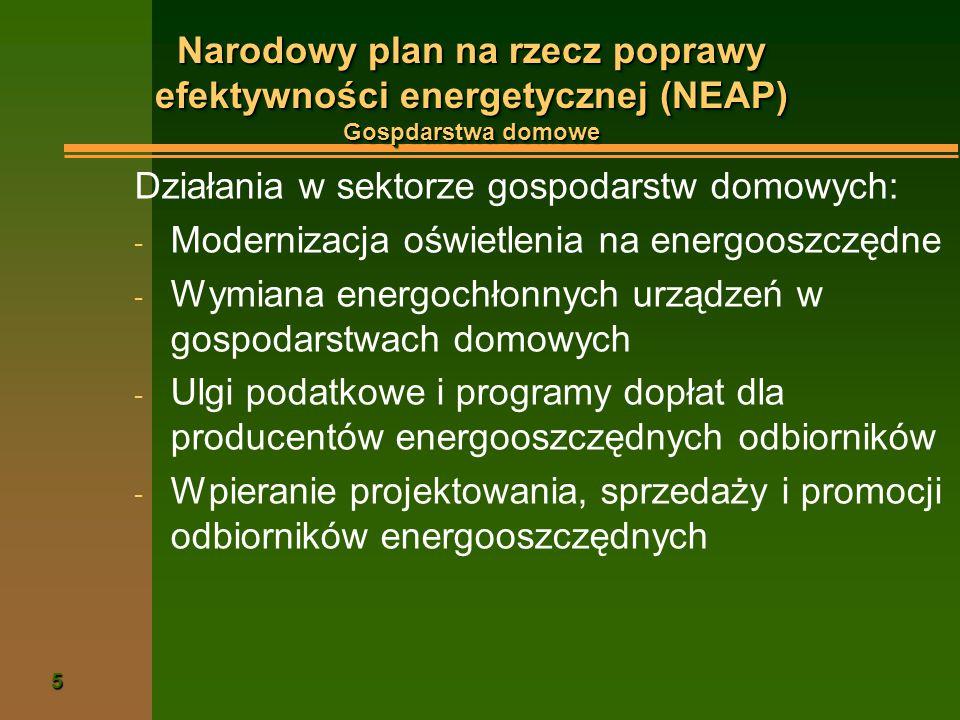 5 Narodowy plan na rzecz poprawy efektywności energetycznej (NEAP) Gospdarstwa domowe Działania w sektorze gospodarstw domowych: - Modernizacja oświetlenia na energooszczędne - Wymiana energochłonnych urządzeń w gospodarstwach domowych - Ulgi podatkowe i programy dopłat dla producentów energooszczędnych odbiorników - Wpieranie projektowania, sprzedaży i promocji odbiorników energooszczędnych