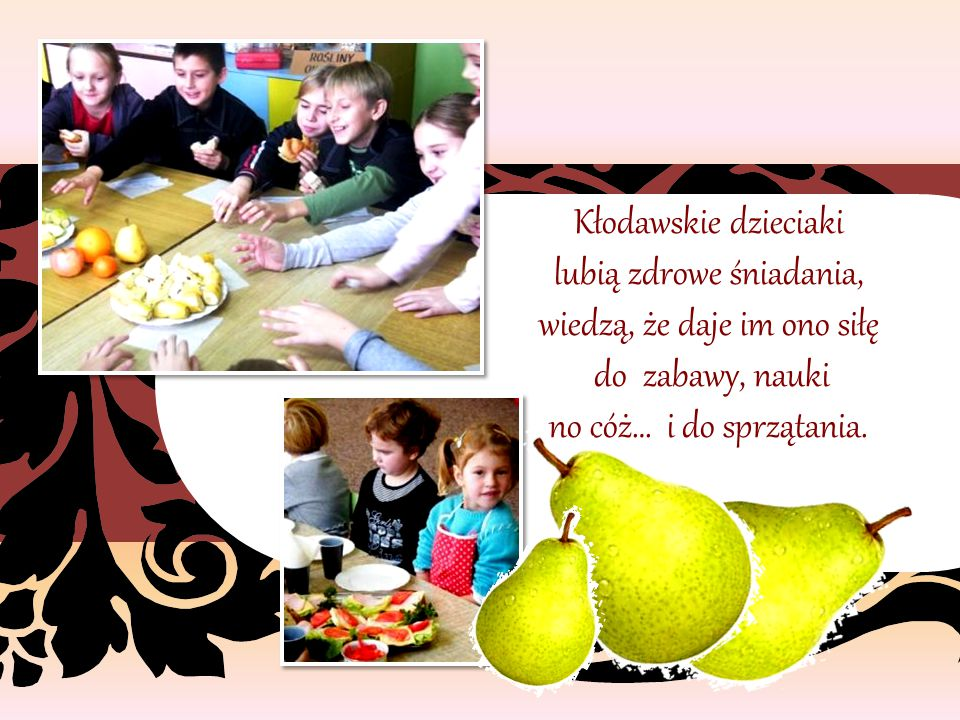Ręce wszyscy umyli, fartuszki nałożyli i śniadanie wyśmienite z rodzicami, nauczycielami przyrządzili.