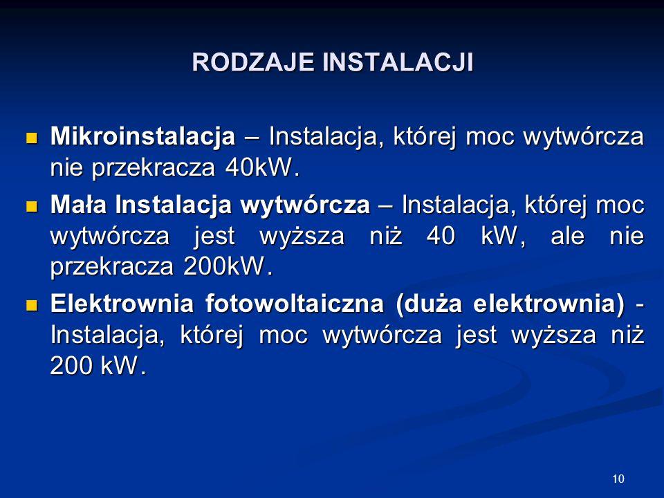 10 RODZAJE INSTALACJI Mikroinstalacja – Instalacja, której moc wytwórcza nie przekracza 40kW. Mikroinstalacja – Instalacja, której moc wytwórcza nie p