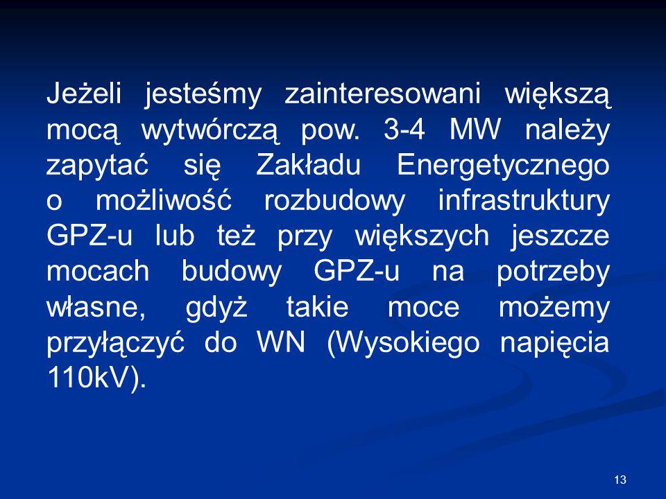 13 Jeżeli jesteśmy zainteresowani większą mocą wytwórczą pow. 3-4 MW należy zapytać się Zakładu Energetycznego o możliwość rozbudowy infrastruktury GP